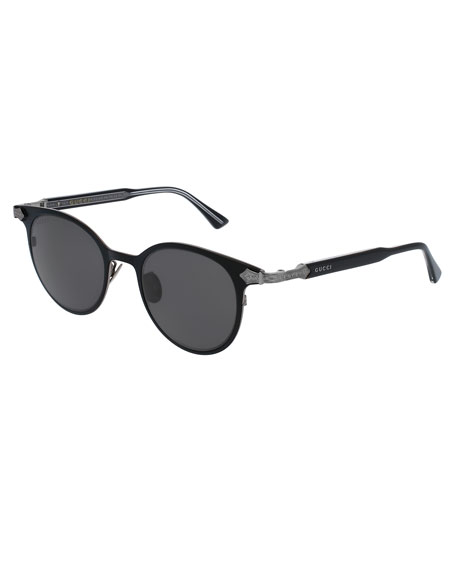 Engraved Sunglasses  gucci round anium sunglasses w engraved details black