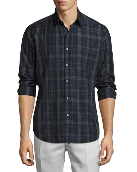 Sylvain Imandra Slim-Fit Check Sport Shirt, Blue