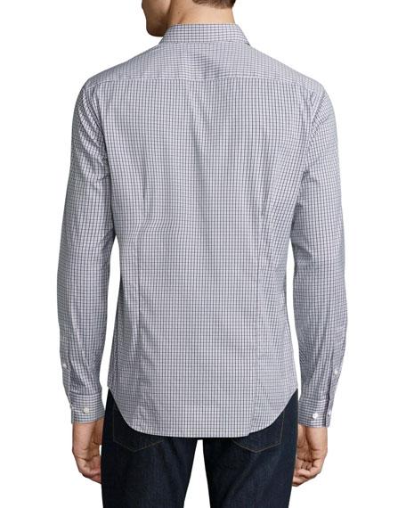 Sylvain Dillene Slim-Fit Box-Check Sport Shirt, White/Blue