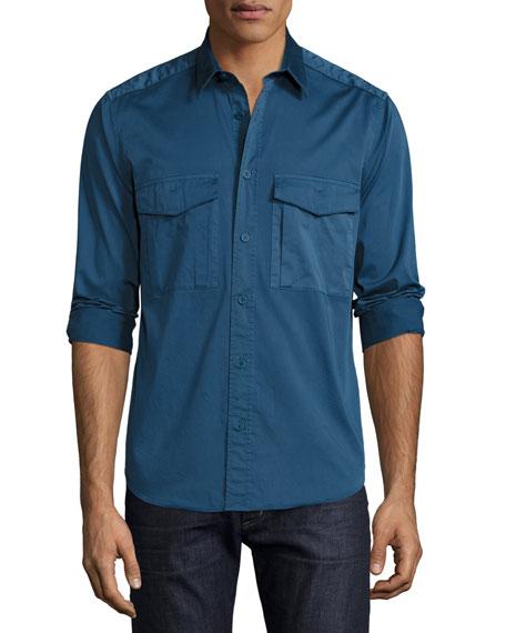 Theory Darrel Berke Double-Pocket Shirt, Royal Blue