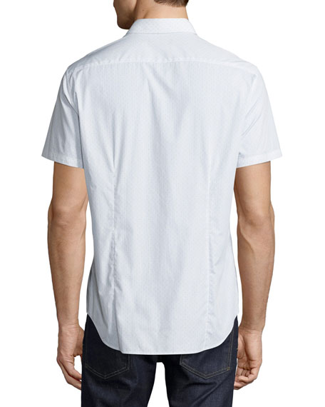 Sylvain Corvalle Pin-Dot Short-Sleeve Sport Shirt, White