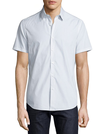 Theory Sylvain Corvalle Pin-Dot Short-Sleeve Sport Shirt, White