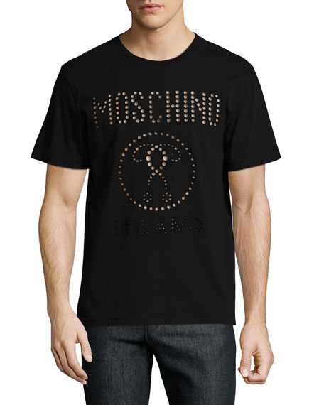 Moschino Cutout Double Question Mark Logo T-Shirt, Black