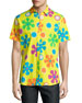 Psychedelic Floral-Print Short-Sleeve Sport Shirt, Yellow