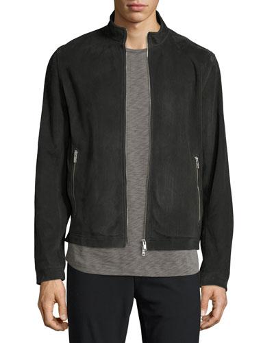 Suede Zip Track Jacket, Charcoal