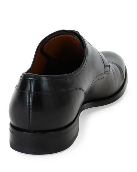 Bruxelles Leather Cap-Toe Dress Shoe, Black