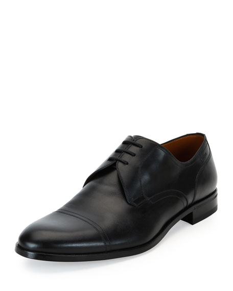 Bally Bruxelles Leather Cap-Toe Dress Shoe, Black and