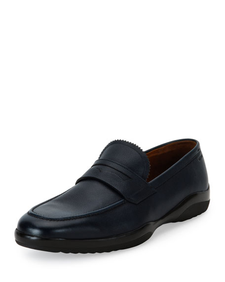 Bally Micson Textured Leather Penny Loafer, Blue/Black