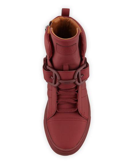 Vitello High-Top Sneaker w/Trainspotting Stripe, Red