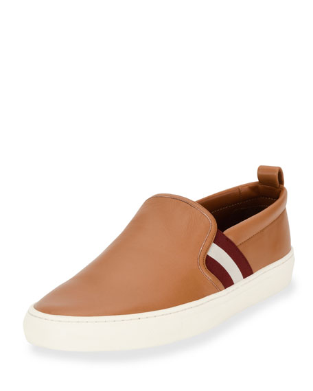 Bally Herald Leather Slip-On Sneaker, Cuir/White