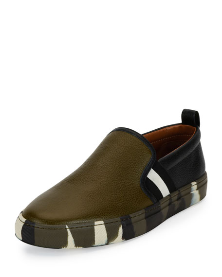 Bally Herald Leather Slip-On Sneaker w/Camo Sole,