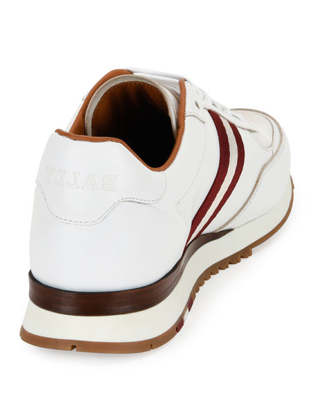Men's Leather Trainer Sneakers w/Trainspotting Stripe, White