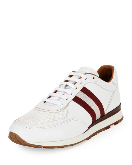 Bally Leather Trainer Sneaker w/Trainspotting Stripe, White