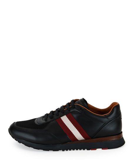 Men's Leather Trainer Sneakers w/Trainspotting Stripe, Black