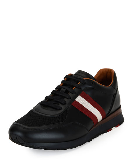 Bally Leather Trainer Sneaker w/Trainspotting Stripe, Black