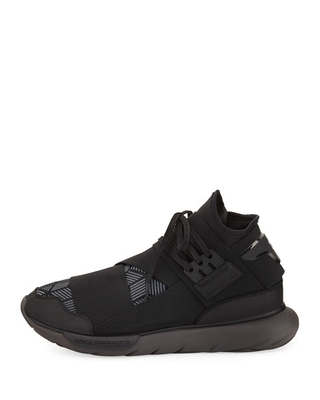 Qasa Men's Reflective Print High-Top Trainer Sneaker, Black