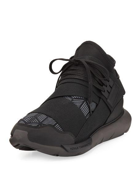 Y-3 Qasa Men's Reflective Print High-Top Trainer Sneaker,