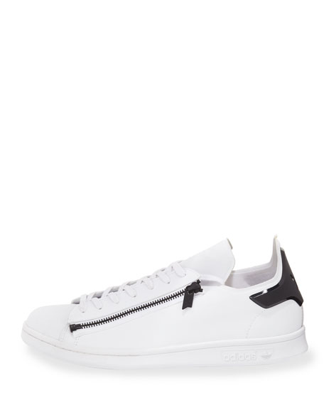 Stan Zip-Side Leather Sneaker, White/Black