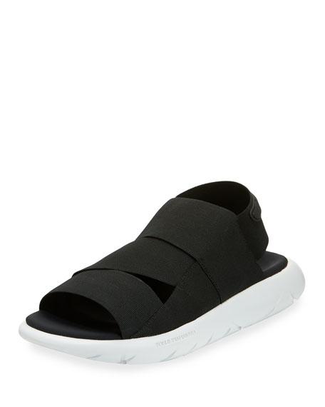 designer flip flops 4qko  Qasa Tubular Multi-Strap Sandal, Black/White
