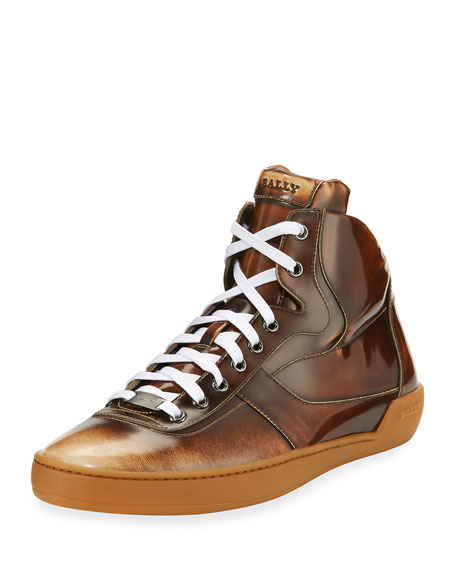 Bally Eroy Burnished Leather Mid-Top Sneaker, Cuir (Brown)