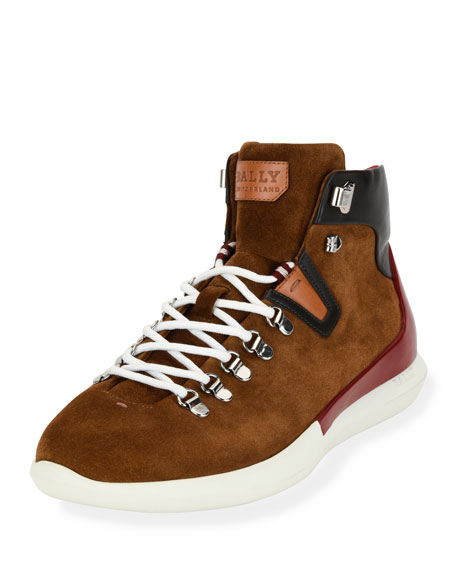 Bally Avyd Suede Hybrid Hiker-Sneaker, Tobacco Brown