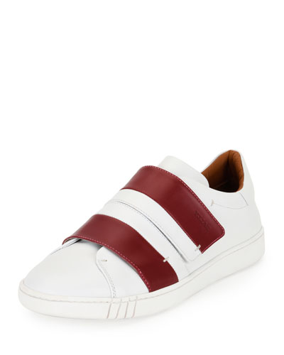 Willet Leather Low-Top Sneaker, White/Red