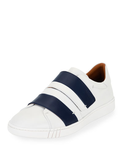 Willet Leather Low-Top Sneaker, White/Navy