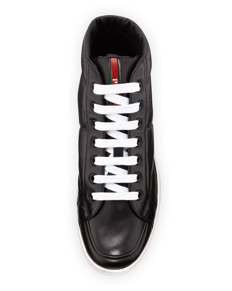 Leather Mid-Top Sneaker, Black