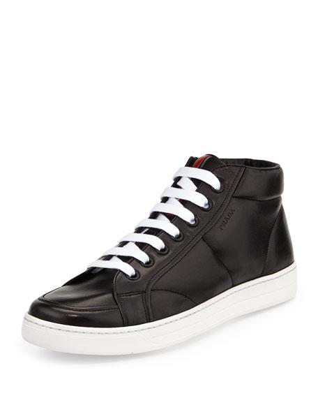 Prada Leather Mid-Top Sneaker, Black