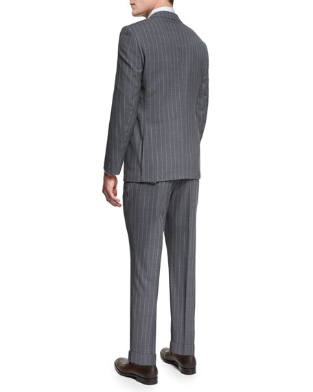 Pindot-Stripe Two-Piece Wool Suit, Gray