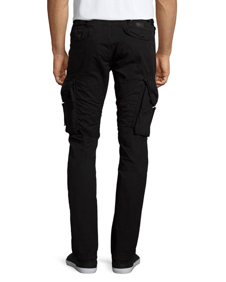 Slim-Fit Twill Cargo Pants, Black