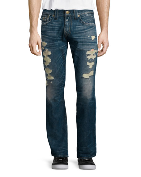Ricky Distressed Denim Jeans, Medium Blue