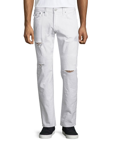 Geno Ripped & Worn Denim Jeans, White Rapids
