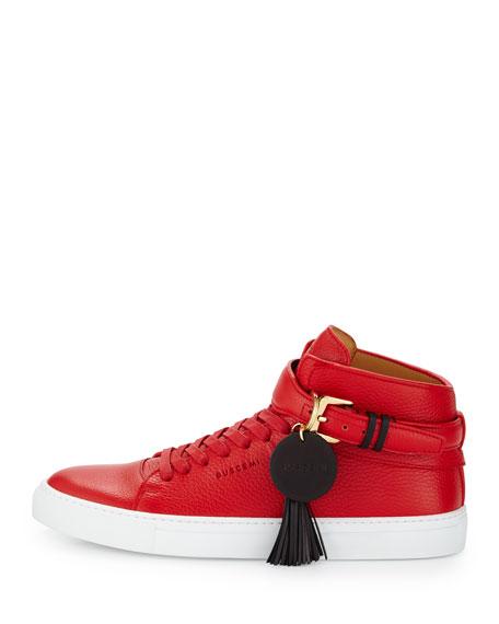 100mm Tassel Leather High-Top Sneaker