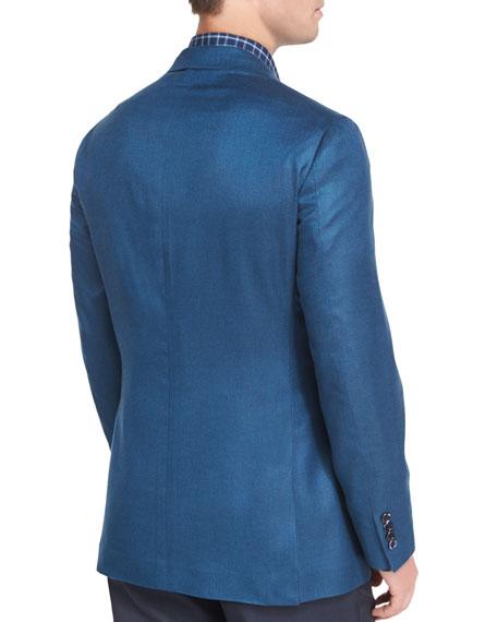 Solid Silk Two-Button Blazer, Blue
