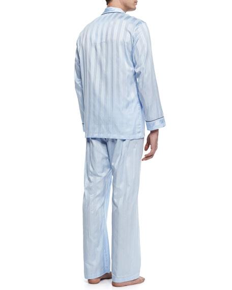 Tonal-Striped Cotton Pajama Set