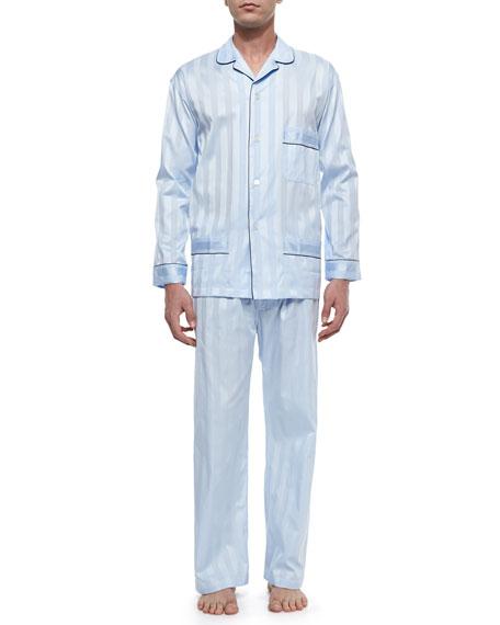 BONSOIR LONDON Tonal-Striped Cotton Pajama Set in Navy