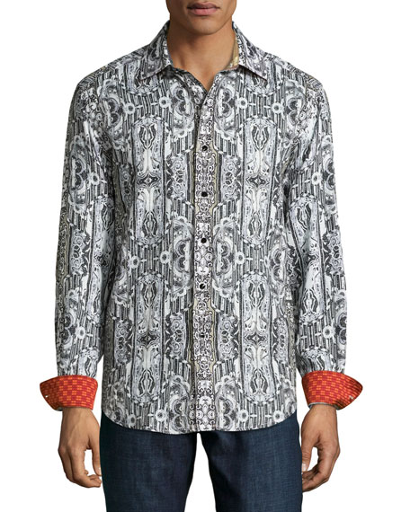 Limited Edition Printed Linen Sport Shirt, Gray