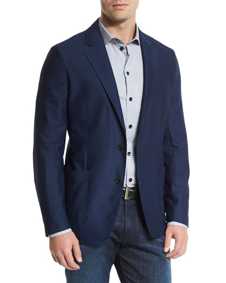 Textured Two-Button Jacket, Navy