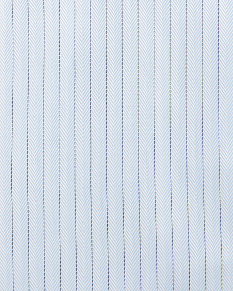 Herringbone-Pinstripe Woven Dress Shirt, Light Blue