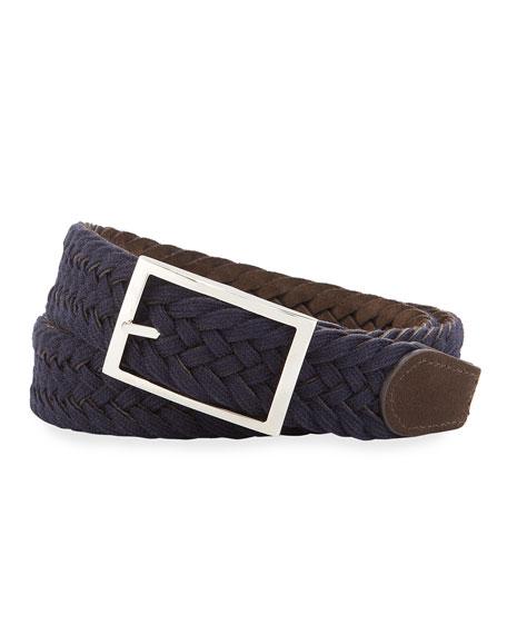 SIMONNOT GODARD Men'S Reversible Suede & Wool Felt Belt in Brown