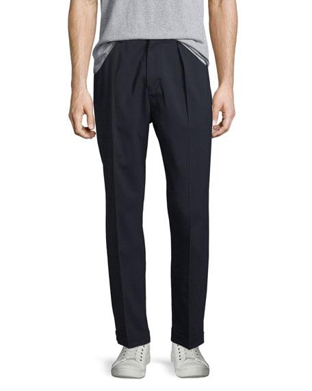 Vince Cuffed-Hem Stretch-Wool Pants, Coastal
