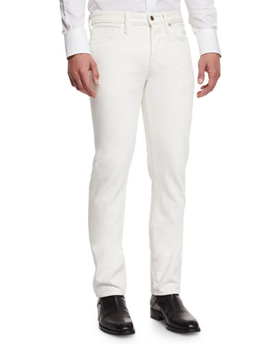 Straight-Fit Denim Jeans, White