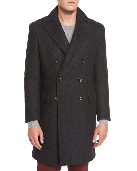 Neiman Marcus Herringbone Cashmere Double-Breasted Coat