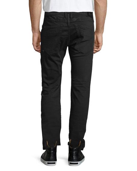 Slim-Fit Moto Biker Jeans, Black