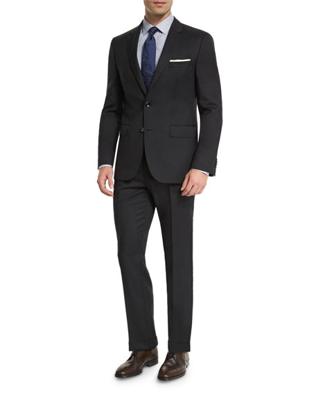 BOSS Johnstons Lennon Tonal-Grid Slim-Fit Basic Suit, Black