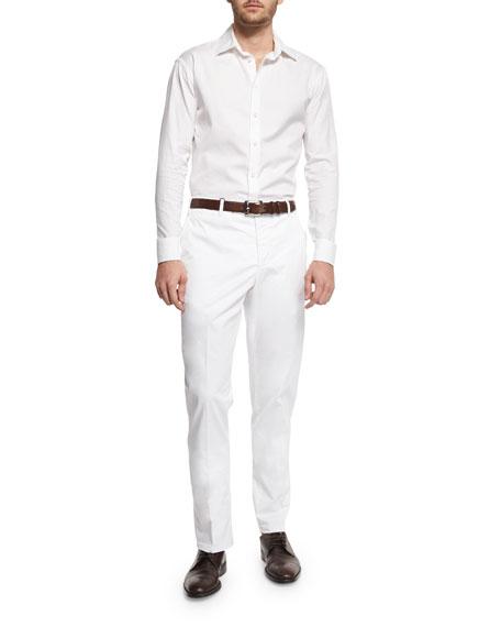Parker Cotton-Stretch Flat-Front Trousers