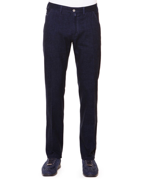 Stefano Ricci Flat-Front Trousers with Croc Trim, Navy
