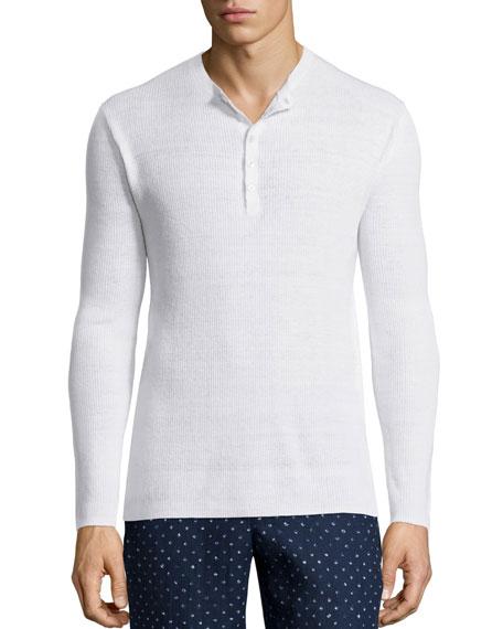 Michael Kors Ribbed Long-Sleeve Henley Shirt, Gray