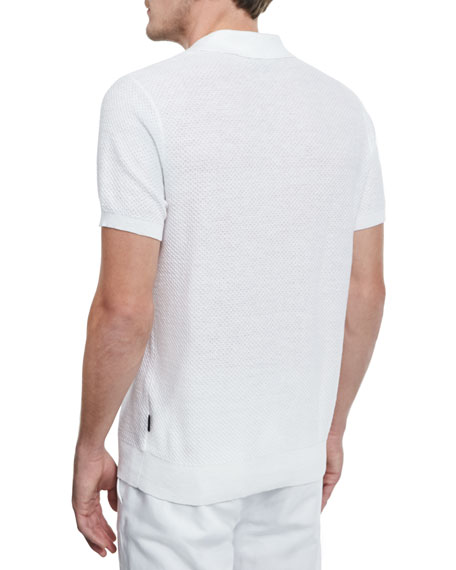 Michael Kors Textured Cotton Linen Polo Shirt White